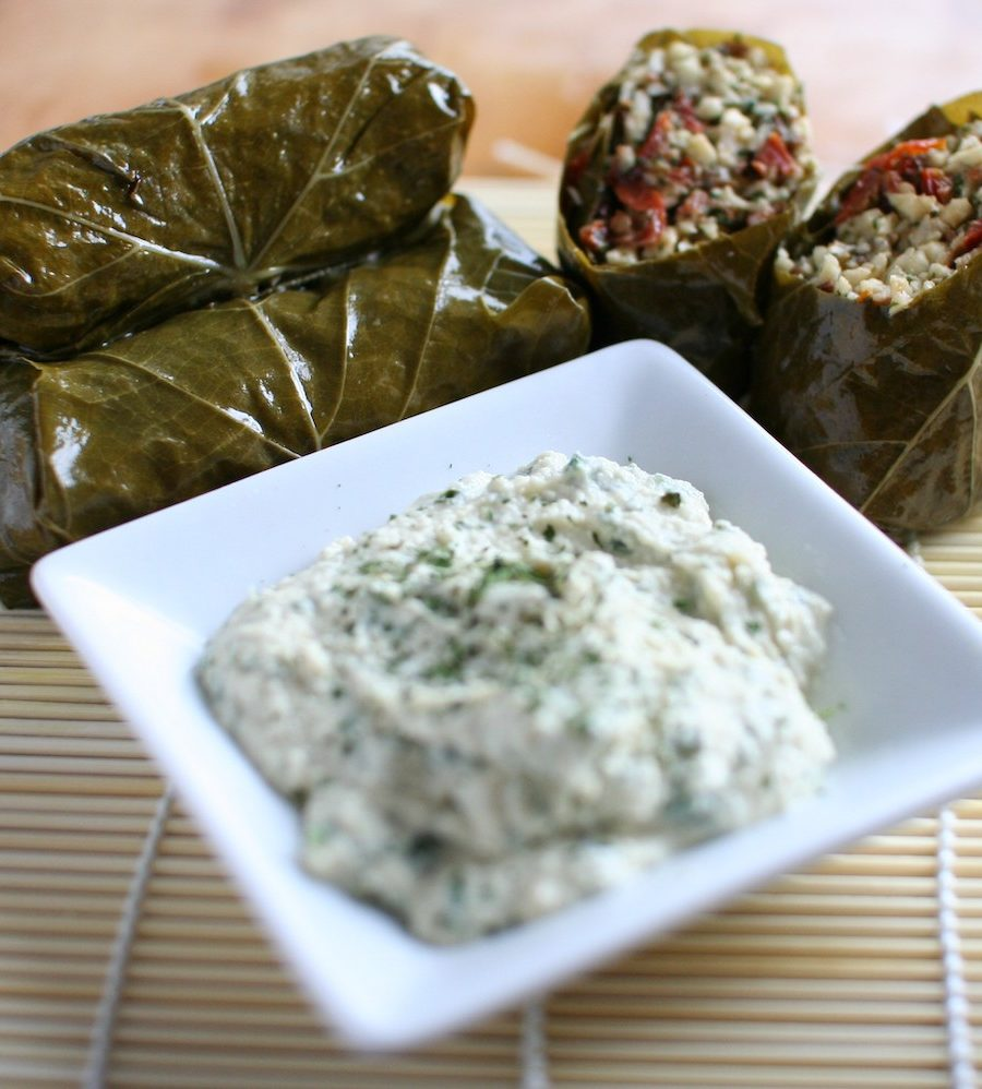 Stuffed vine leaves with parsnip rice and cashew aoli