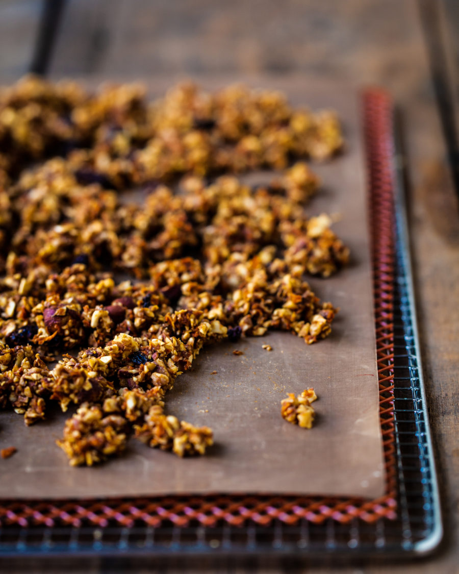Dehydrated raw carrot cake granola on a food dehydrator sheet and tray, on a wooden background