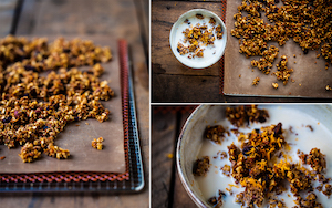 Collage of 3 images of carrot cake granola with almond milk