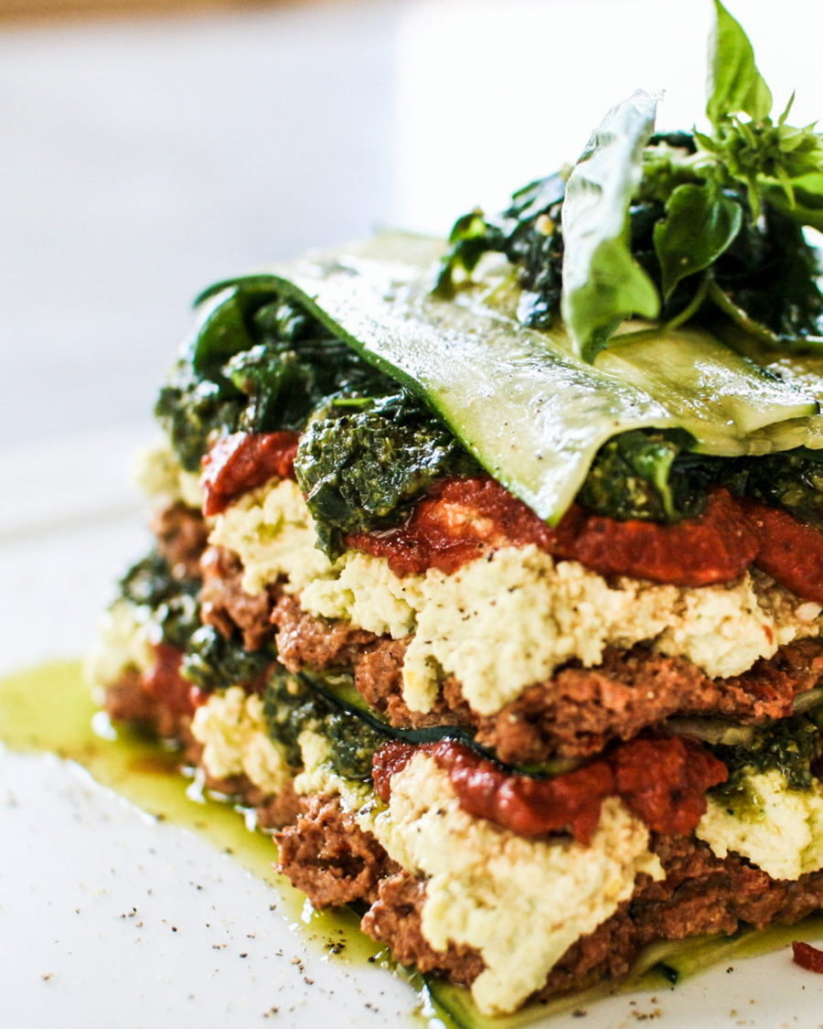 Raw vegan lasagne on a white plate