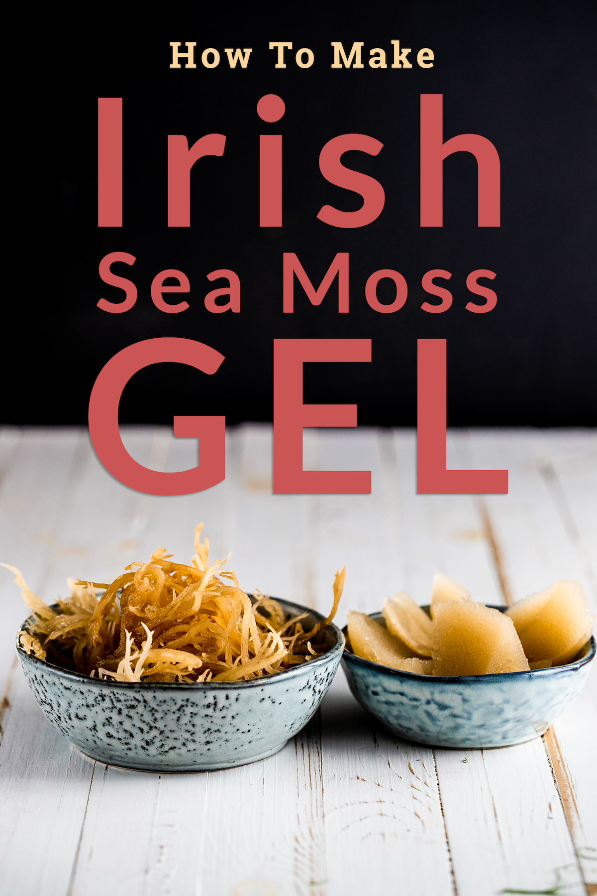 Irish moss and Irish moss gel in blue dishes on a white background with text above