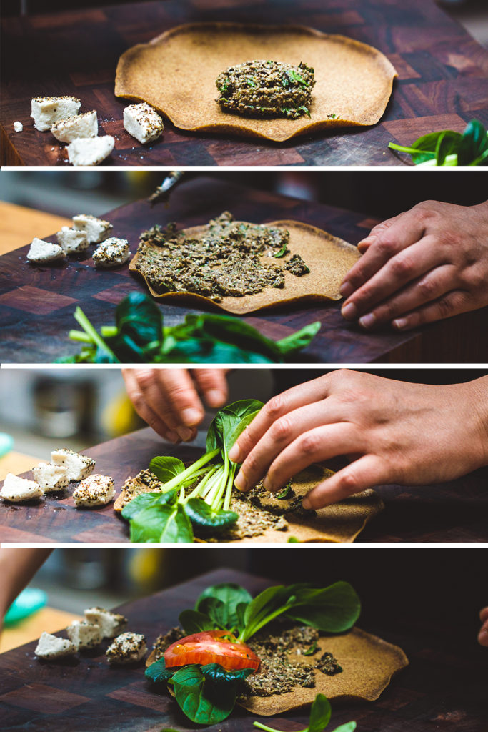First four stages of making a Greek raw breakfast wrap on a wooden chopping board