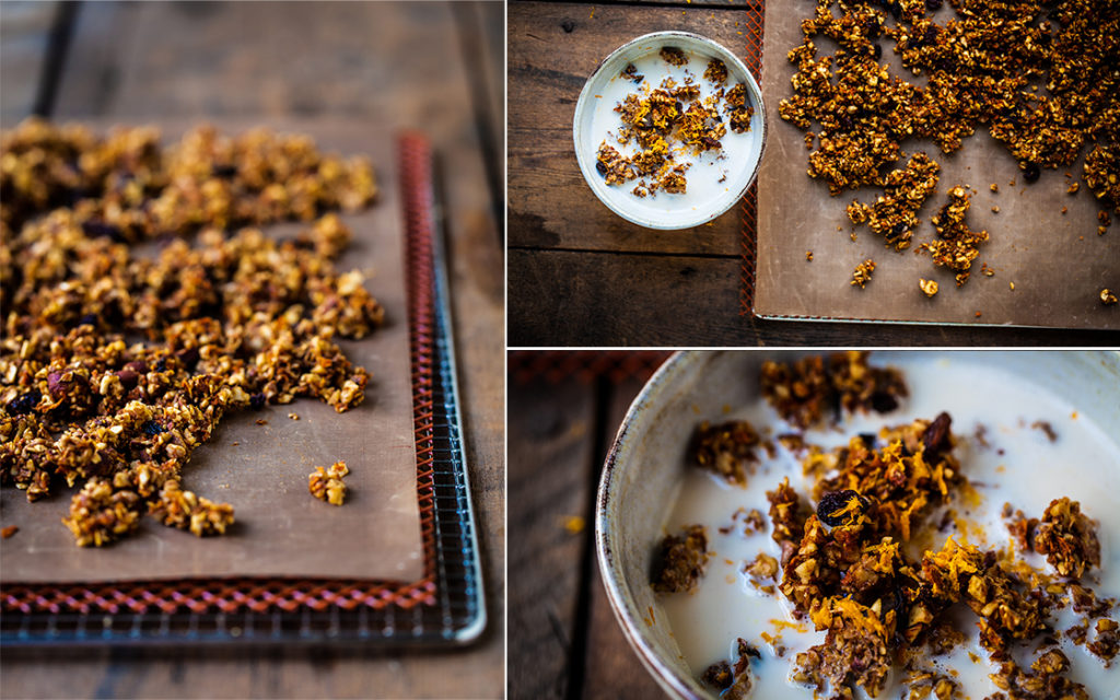 3 different images of raw carrot cake granola on a wooden board