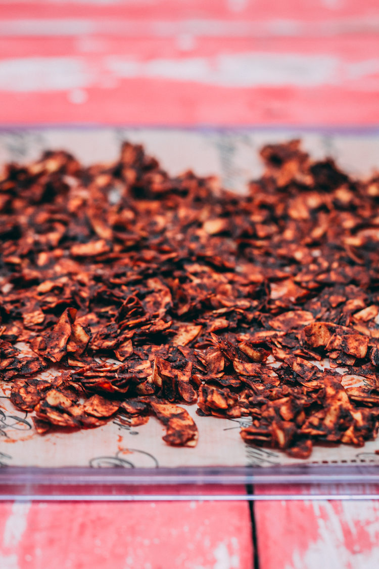 Smoky chipotle coconut chips on a dehydrator tray and red wood background