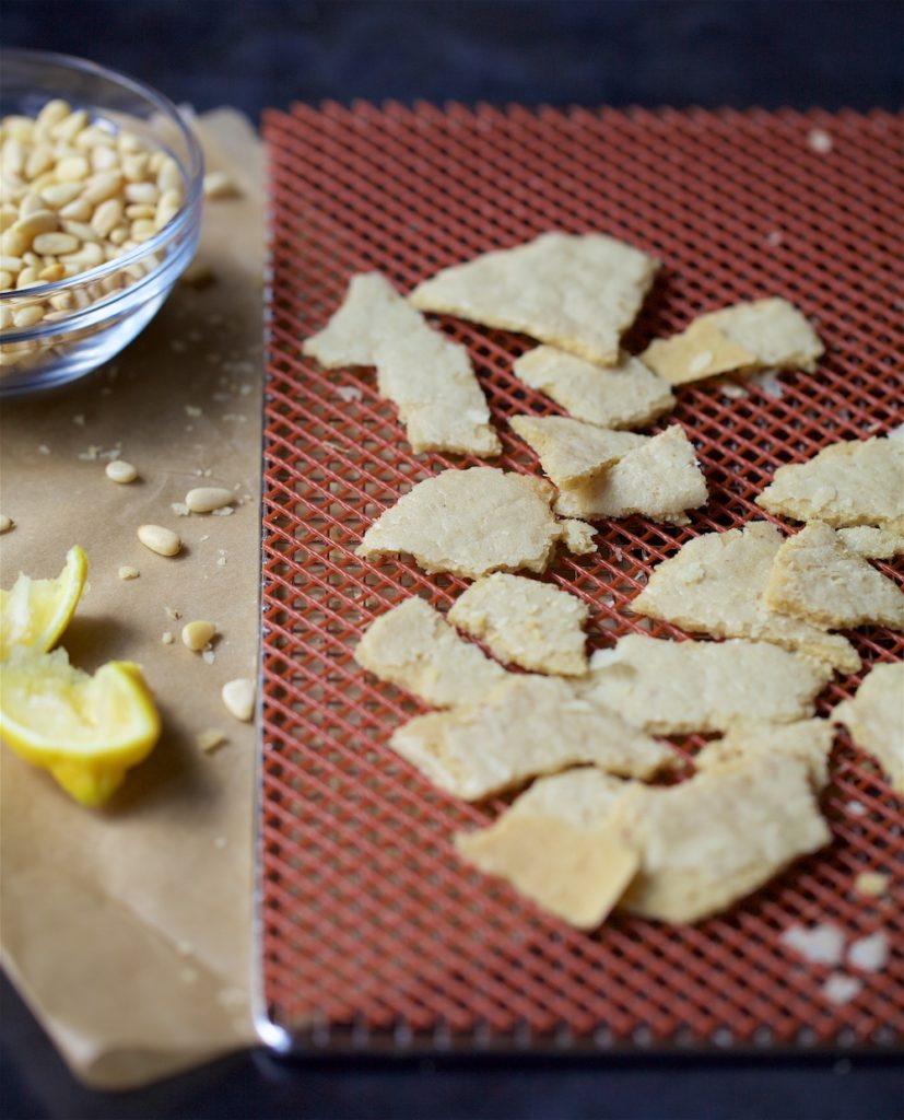 Pine nut parmesan on a dehydrator tray with some lemon and pine nuts on the side