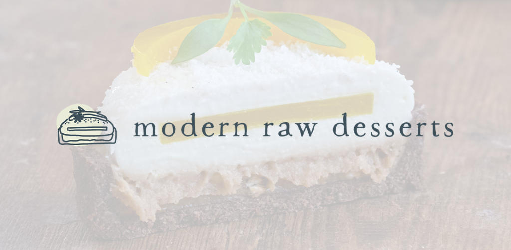 Modern Raw Desserts logo on a transparrent white background over a raw dessert