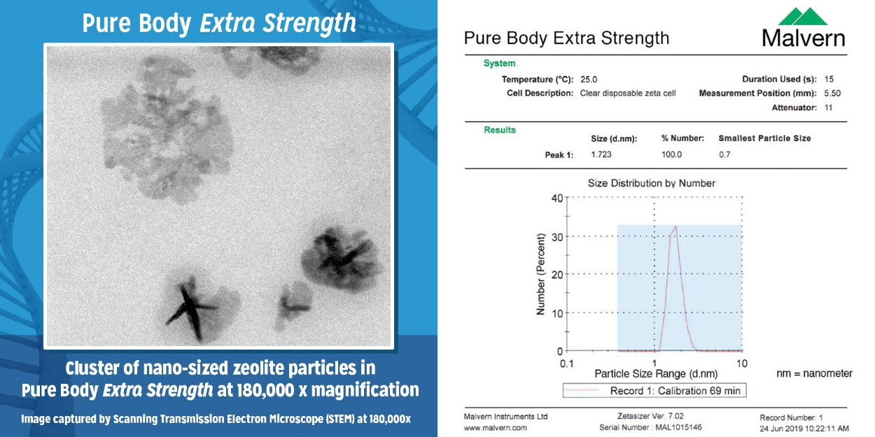 Microscope image and chart showing the nanosized particles of Pure Body Extra Strength