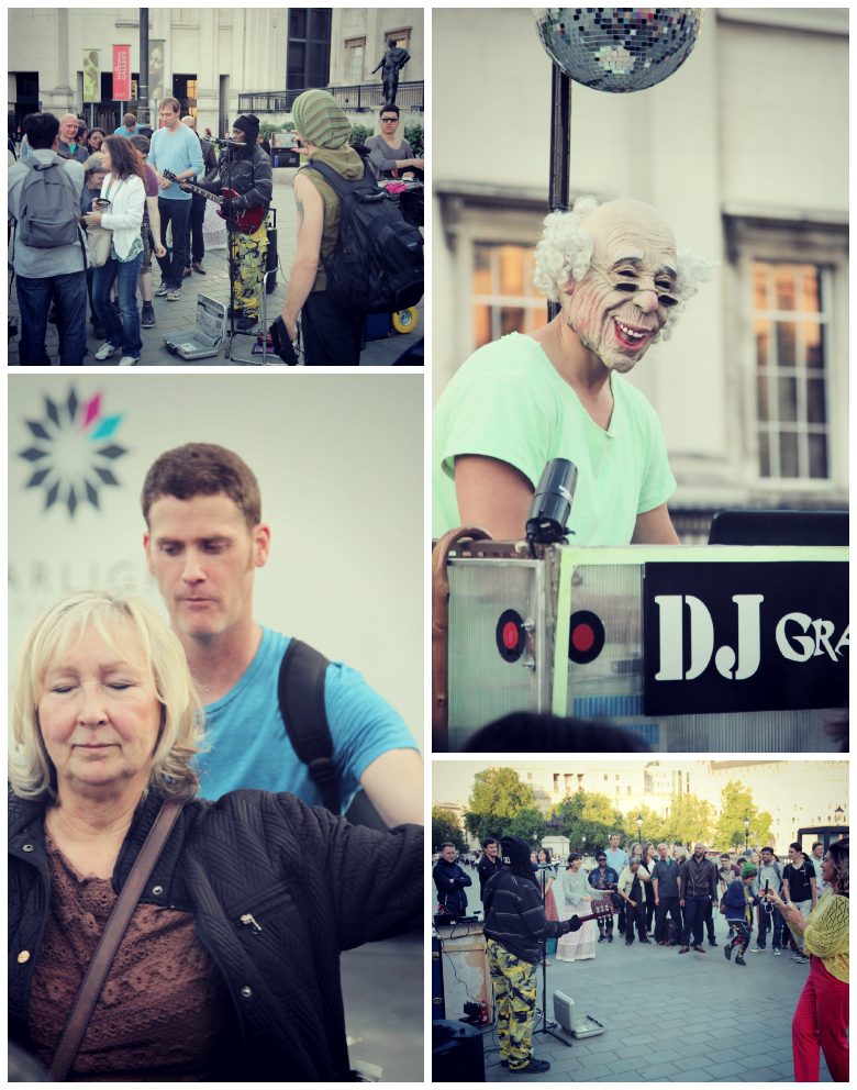 Collage of various things happening on a synchronicity walk in London