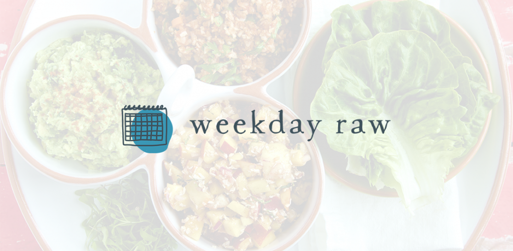 Weekday Raw logo on a transparrent white background over a raw food recipe