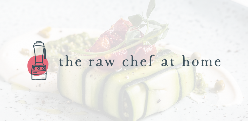 The Raw Chef at Home logo on a transparrent white background with a raw food recipe behind it