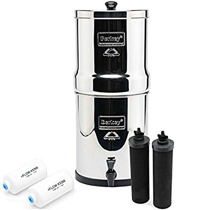 Berkey water filter with separate filters around it all on a white background