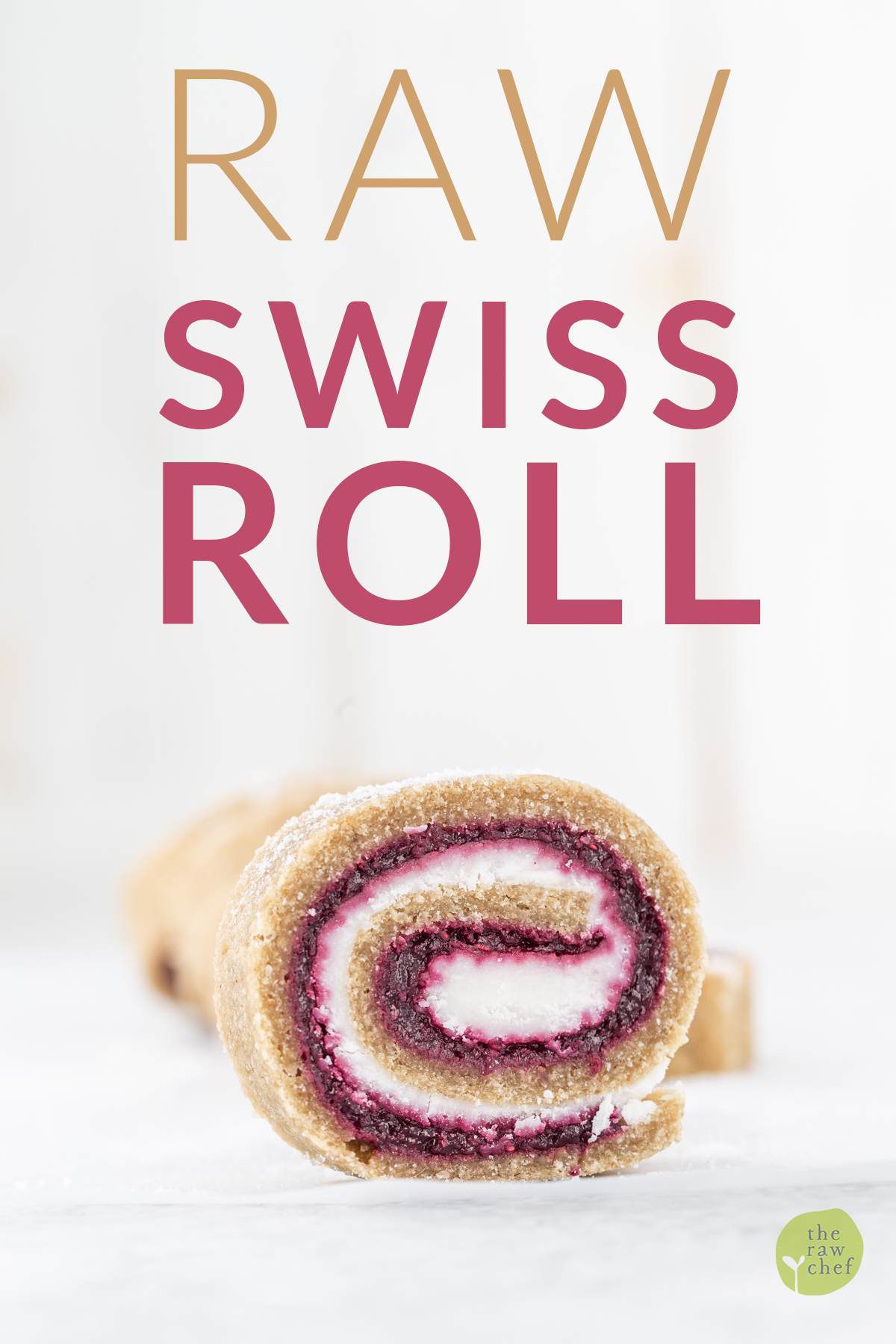 Raw Swiss Roll slice on a white background with text